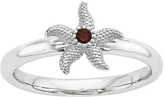 FINE JEWELRY Sterling Silver Stackable Genuine Garnet Starfish Ring