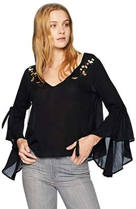 Jack by BB Dakota Women's Beech Bell Sleeve Top with Embroidery Detail