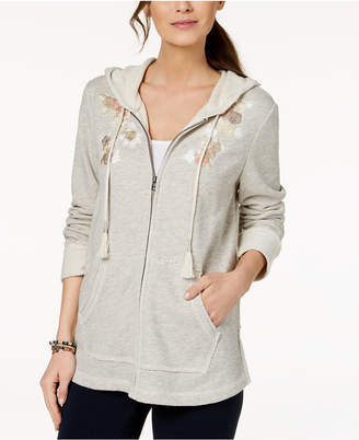 Style&Co. Style & Co Embroidered Hoodie Jacket, Created for Macy's