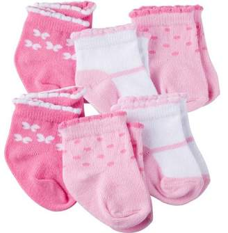 Gerber Newborn Baby Girl Ankle Bootie Socks, 6-Pack