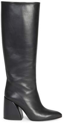 Chloé Wave Leather Block Heel Tall Boots