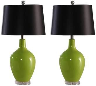 Abbyson Living Sumatra Green Ceramic Table Lamp - Set of 2