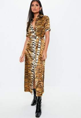Missguided Gold Tiger Print Midaxi Shirt Dress