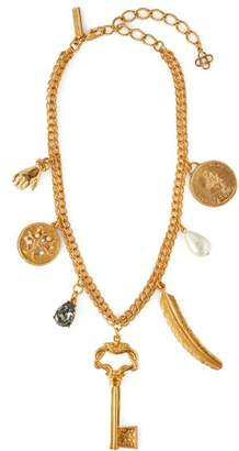 Oscar de la Renta Pearl Embellished Gold Tone Charm Necklace - Womens - Gold