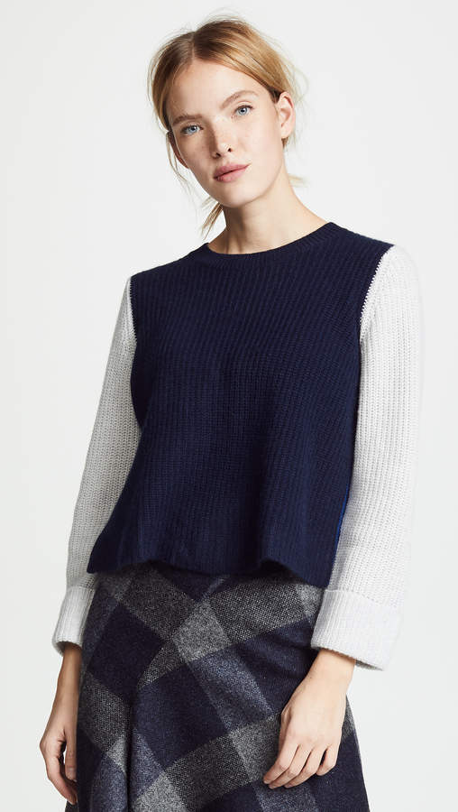 Cuffed Colorblock Shaker Cashmere Sweater
