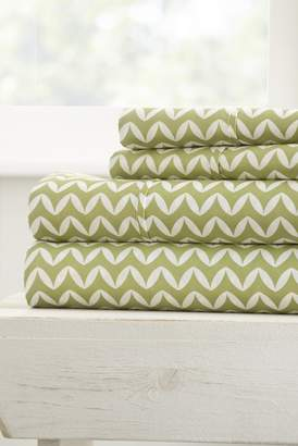 IENJOY HOME Home Spun Premium Ultra Soft Puffed Chevron Pattern 4-Piece Full Bed Sheet Set - Sage