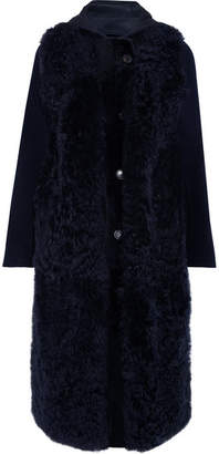 Yves Salomon Hooded Shearling And Wool-blend Coat - Navy