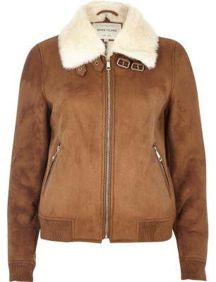 River IslandRiver Island Womens Tan faux fur lined bomber jacket