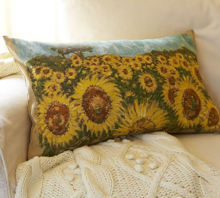 Hand-Painted Sunflower Linen Lumbar Pillow Cover
