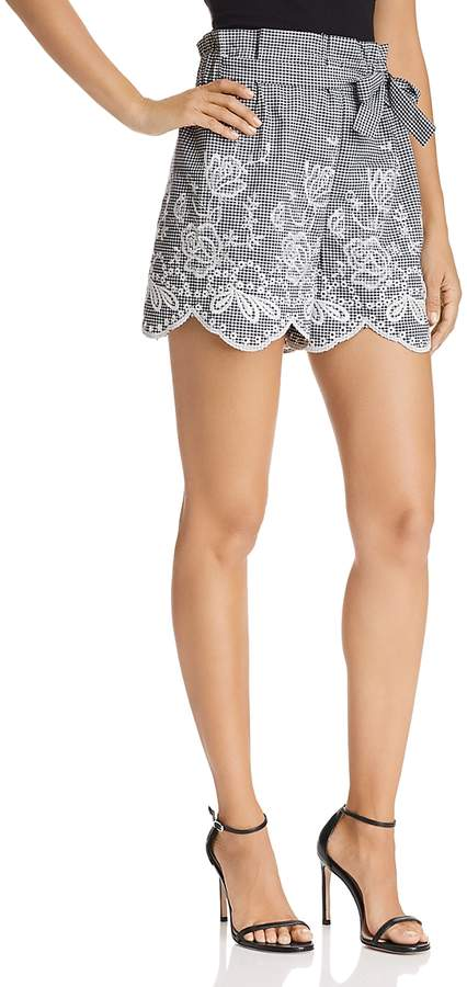 Embroidered Gingham Paper-Bag Shorts - 100% Exclusive