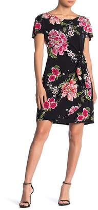 Robbie Bee Floral Print Wrap Skirt Dress