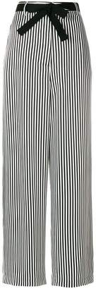 Hache striped belted wide-leg trousers