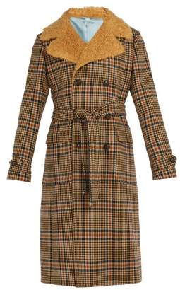 Gucci Checked Faux Shearling Collar Coat - Mens - Brown