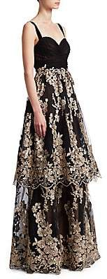David Meister Women's Floral Tiered Gown