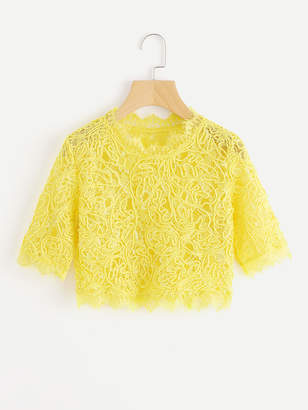 Romwe Hollow Out Eyelash Lace Crop Top