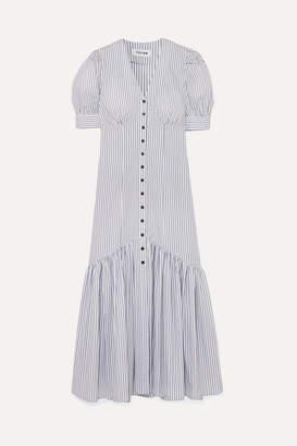 Cefinn - Esme Striped Cotton-jacquard Midi Dress - White