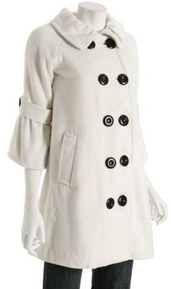 Priorities ivory double breasted 'Hallie' ¾ sleeve coat