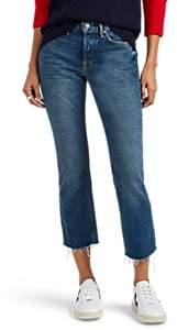 GRLFRND Women's Distressed Micro Boot Crop Jeans - Blue