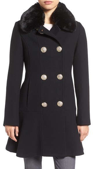 Kate Spade Women's Kate Spade New York Double Breasted Twill Coat With Faux Fur Collar
