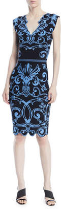 Versace V-Neck Sleeveless Baroque-Intarsia Knit Dress
