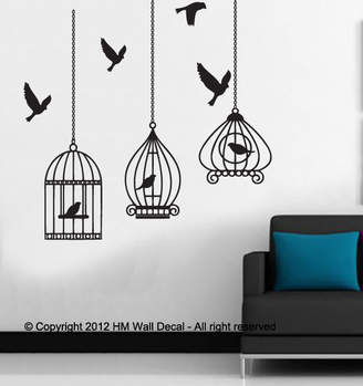 H&M Wall Decal Cutie Birds Cages Wall Art Decal