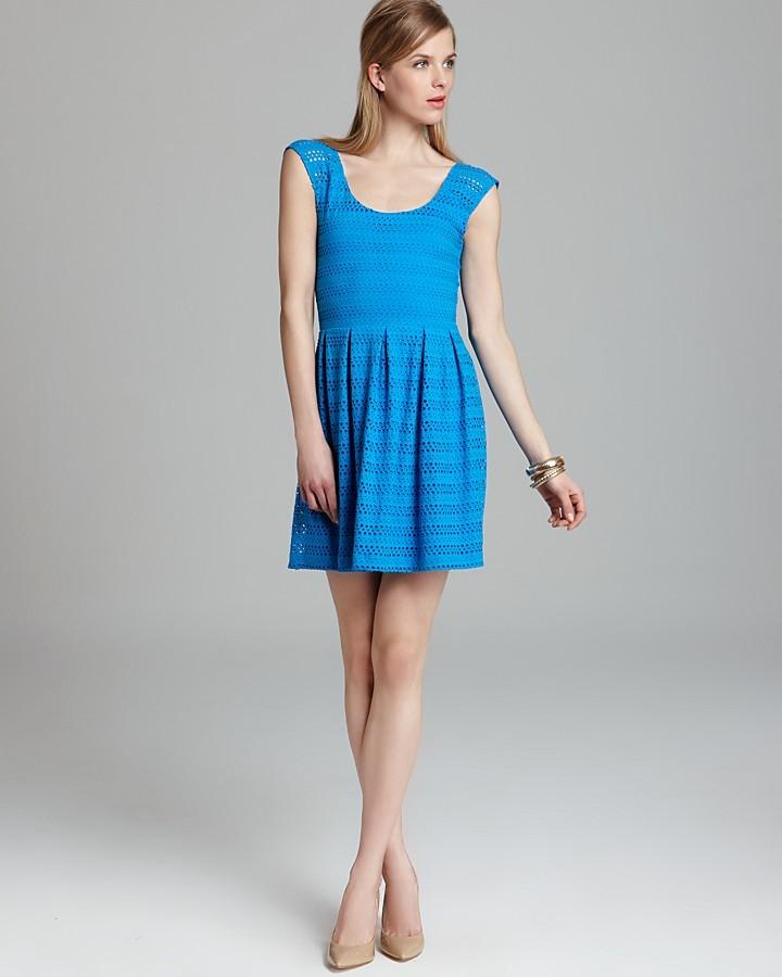 Aqua Party Dress - Knit Eyelet Off Shoulder