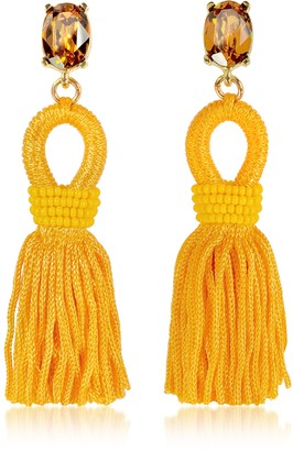 Oscar de la Renta Short Silk Tassel Earrings