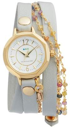 La Mer Nolita Leather Wrap Strap Watch, 22mm