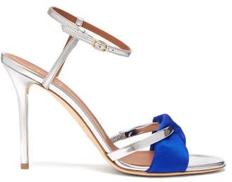 Malone Souliers Terry Satin And Leather Stiletto Sandals - Womens - Blue Silver