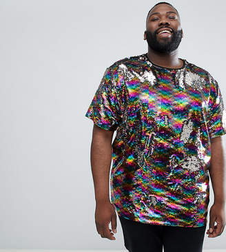 Asos DESIGN festival Plus relaxed t-shirt with all over reversible rainbow sequins