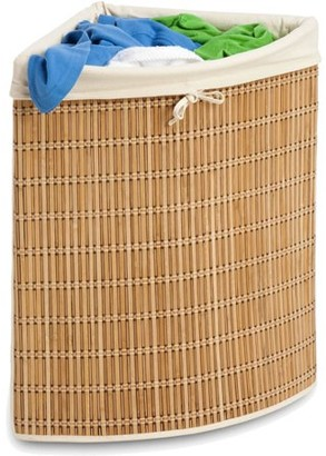 Honey-Can-Do Large Wicker Basket with Handles and Liner, Natural