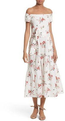 Women's Rebecca Taylor Marguerite Floral Off The Shoulder Midi Dress $450 thestylecure.com