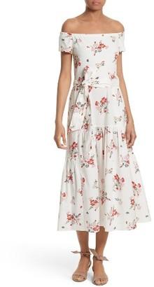 Women's Rebecca Taylor Marguerite Floral Off The Shoulder Midi Dress $450 thestylecure.com