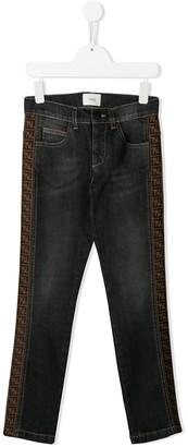 Fendi side logo stripe jeans
