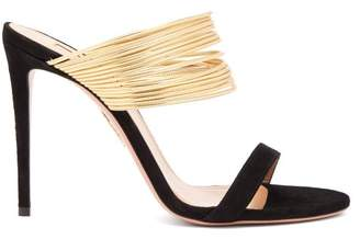 Aquazzura Rendez Vous 105 Suede Mule Sandals - Womens - Black Gold