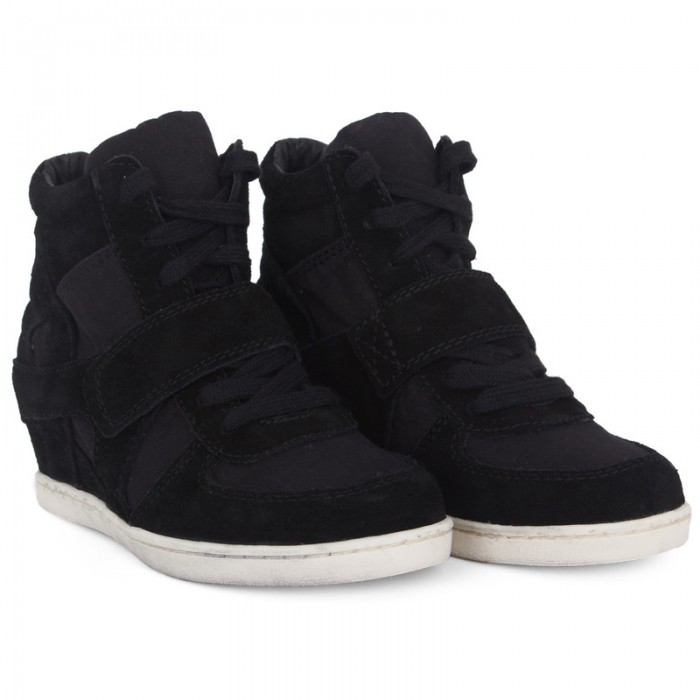 Ash Shoes Black Suede & Canvas Wedge Sneakers