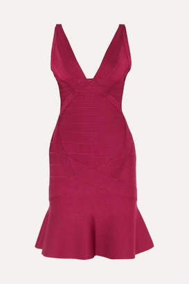 Herve Leger Ruffled Bandage Mini Dress - Burgundy