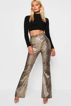 boohoo Pu Snake Print Flared Leather Look Pants