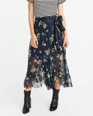 Abercrombie & Fitch Wrap-Front Chiffon Maxi Skirt