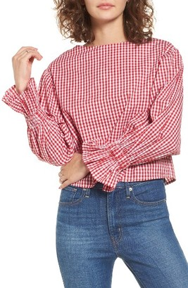 Women's Soprano Gingham Flare Cuff Top $39 thestylecure.com