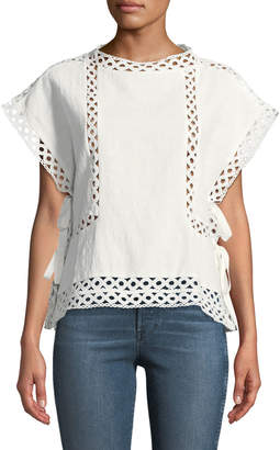 Line And Dot Peony Eyelet Cotton Blouse
