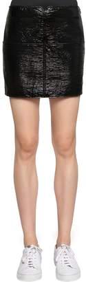 Courreges Crackled Vinyl Coated Cotton Mini Skirt