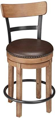 Signature Design by Ashley Ashley Furniture Signature Design - Pinnadel Swivel Barstool - Counter Height - Brown