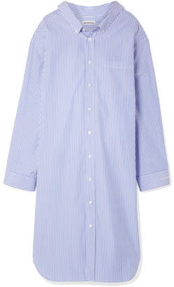 Balenciaga Oversized Striped Cotton-poplin Dress - Blue