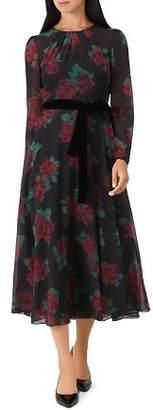 Hobbs London Lolita Rose Print Midi Dress
