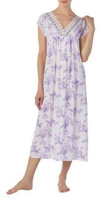 Eileen West Floral-Print Cotton Nightgown
