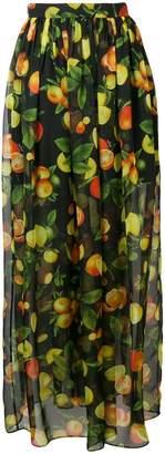 MSGM botanical print high waisted skirt