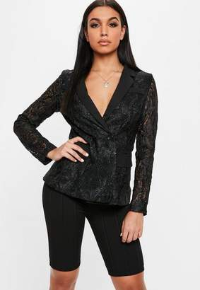 Missguided Black Sheer Sleeve Lace Blazer