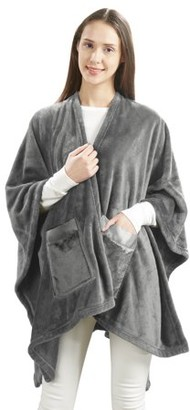 Unbranded Angel Wrap Cozy Plush Glimmersoft Throw Blanket with Satin Trim Pockets