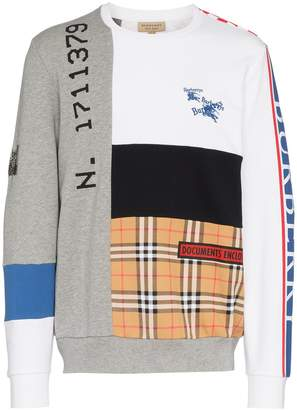 Burberry Multi panel crew neck sweatshirt